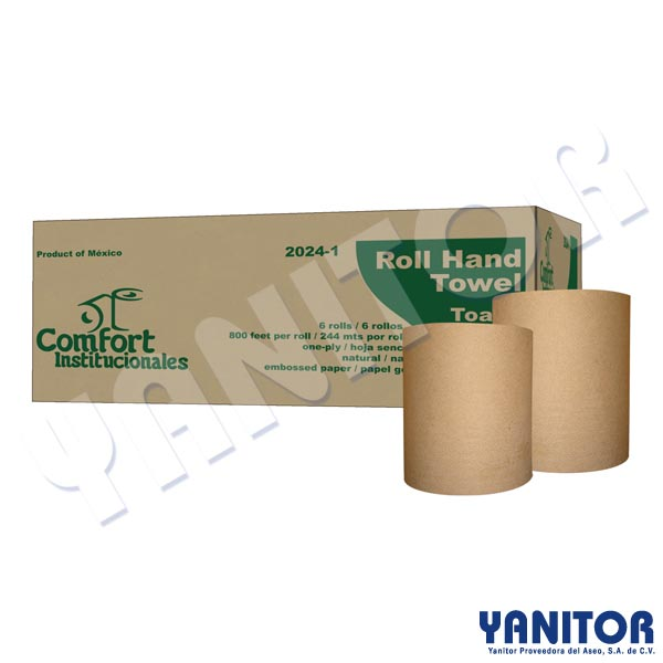 ROLL HAND TOWEL NATURAL 6 ROLLS/800""