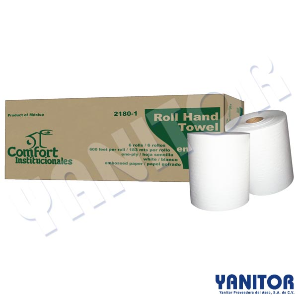 ROLL HAND TOWEL WHITE 6 ROLLS / 600""