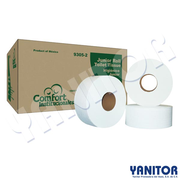 "JUNIOR ROLL TISSUE 12/1000"" WHITE 2 PLY"