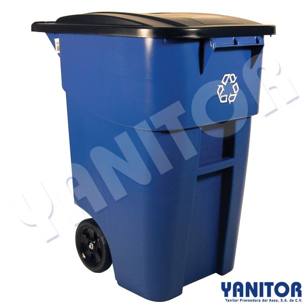 BRUTE RECYCLING ROLLOUT CONTAINER 50 GAL. BLUE