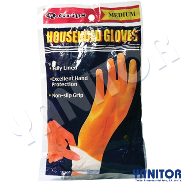 FLOCK LINED LATEX GLOVES LARGE PAIR